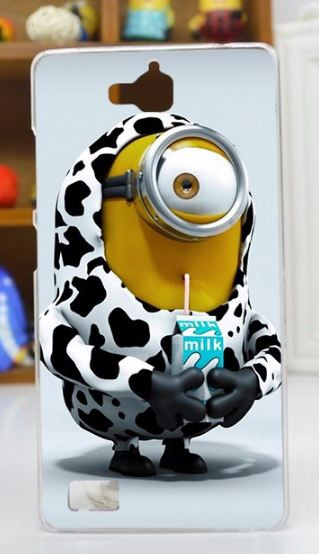 Оригинальный силиконовый чехол бампер для Huawei Honor 3C с рисунком Миньон с молоком