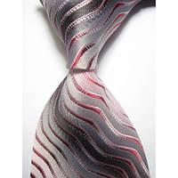 Галстук мужской серый с розовым - волнами KAILONG