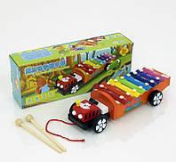 Ксилофон -каталочка деревянная машинка 0463