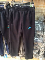 Спортивные брюки мужские Nike теплые на флисе темно-синие черные ровные