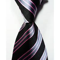 Классический мужской галстук черный в полоску (100% шелк) KAILONG