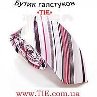 Галстук мужской узкий белый с оттенками розового цвета Bow Tie House™