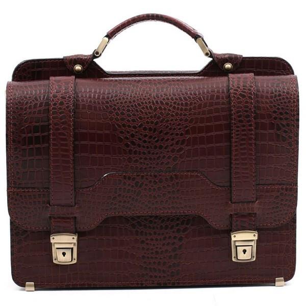 Шкіряний чоловічий портфель СПС-3 коричневий крокко
