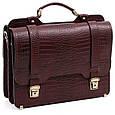 Шкіряний чоловічий портфель СПС-3 коричневий крокко, фото 2