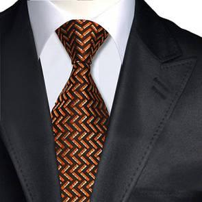 Галстук мужской краснобуро-оранжевый JASON&VOGUE