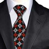 Галстук мужской черный с красными и белыми ромбиками JASON&VOGUE