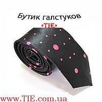 Галстук мужской узкий черный в розовые капельки Bow Tie House™