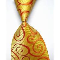 Галстук мужской ярко желтый с оранжевыми рисунками KAILONG