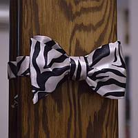 Галстук-бабочка мужская зебра, черно-белые полоски
