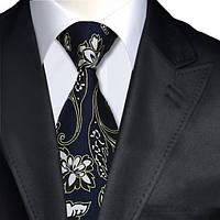Галстук мужской темно-синий с эффектом трещин и цветами JASON&VOGUE