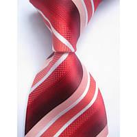 Галстук мужской с оттенками красного и белыми полосками KAILONG
