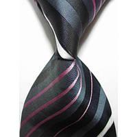 Галстук мужской черный с серым, белым и розовым KAILONG