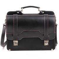 Кожаный мужской портфель СПС-3 черный с отстрочкой