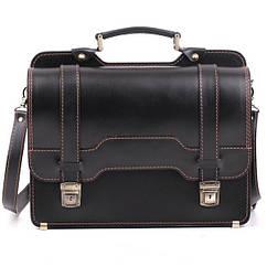 Кожаный мужской портфель СПС-3 черный