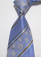 Галстук мужской синий с черными полосками Louis Vuitton Tie