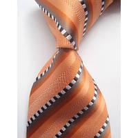 Галстук мужской оранжевый с коричнево-белыми квадратиками в полоску KAILONG