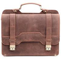 Кожаный мужской портфель СПС-3 коричневый крейзи