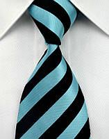 Галстук мужской черный в голубую полоску KAILONG