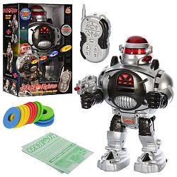 Робот 28083 (18шт) р/у, говорит по-английски, стреляет дисками, свет, на бат-ке, в кор-ке, 21-14-32см