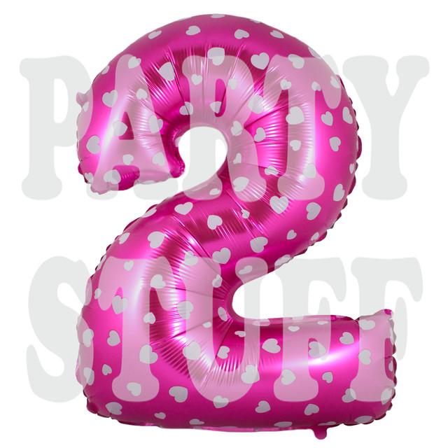 Фольгированная цифра 2 розовая