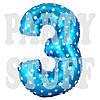 Цифры 3 фольгированные голубые со звездами, 70 см
