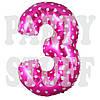 Фольгированные цифры 3 розовые с сердечками, 70 см