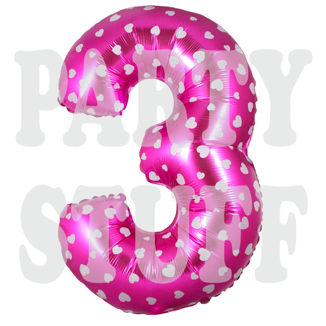 фольгированный шарик цифра 3 розовая