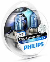 "Автомобильные галогенные лампы ""PHILIPS""(H4)(Blue Vision Ultra)(4000K)(12V)(60/55W), фото 1"