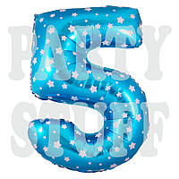 Фольгированный шарик цифра 5 голубая со звездами, 70 см