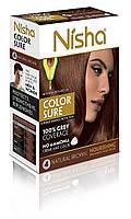 Безамиачная стойкая крем-краска для волос TM Nisha с маслом авокадо Коричневая №4 40мл