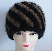 Меховая женская шапка из вязанной норки комбинированная на подкладке. Норковая шапка.