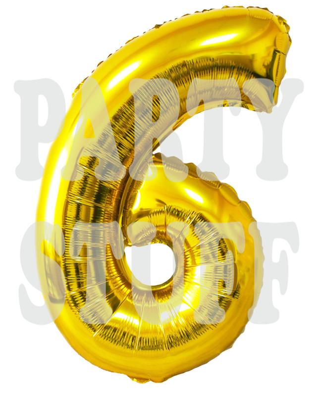 фольгированная цифра 6 золотая