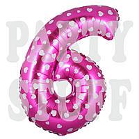 Фольгированная цифра 6 розовая с сердечками, 70 см