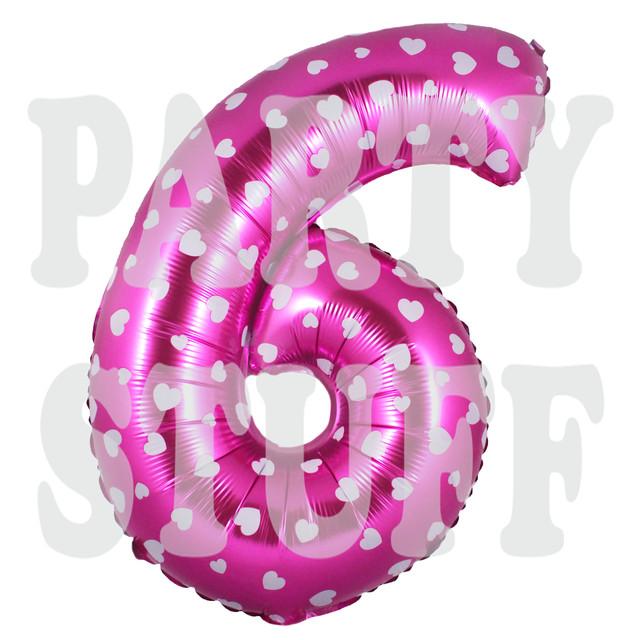 фольгированный шарик цифра 6 розовая