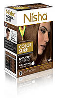 Безаммиачная стойкая крем-краска для волос TM Nisha с маслом авокадо Светло-коричневая №5