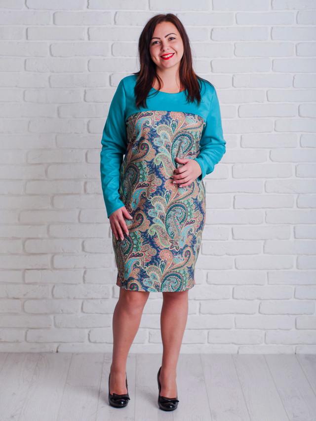 стильное полубатальное платье для женщин, бирюзовое плтье