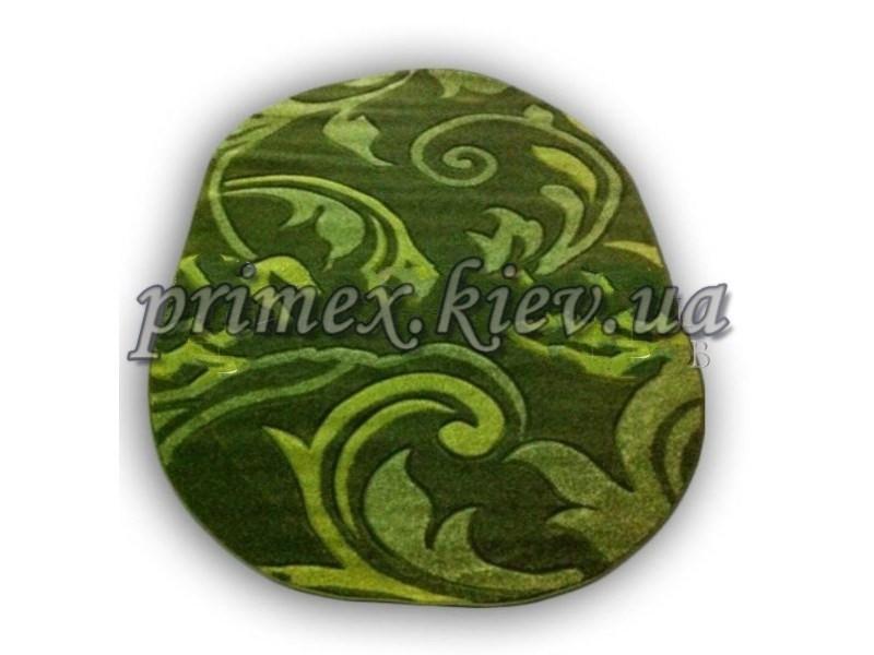 """Рельефный овальный ковер Радуга """"Перышки"""", цвет зеленый"""