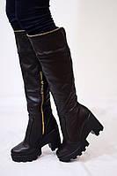 Женские зимние ботфорты на удобной колодке от TroisRois из натуральной турецкой кожи и меха