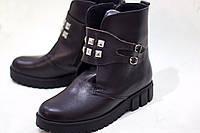 Женские осенние ботинки на флисе от TroisRois из натуральной турецкой кожи Коричневый