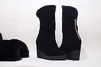 Женские стиляжные зимние ботиночки на удобной колодке от TroisRois из натуральной турецкого замша