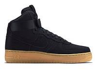 """Зимние кроссовки на меху Nike Air Force 1 High """"Black Gum"""" - """"Черные Коричневые"""""""