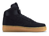 """Зимние кроссовки на меху Nike Air Force 1 High """"Black Gum"""" - """"Черные Коричневые"""" (Копия ААА+), фото 1"""
