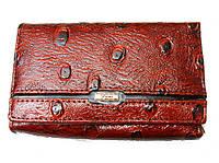 Кошелек Fani WP-53-033 коричневый женский тройного сложения из натуральной кожи монетница снаружи размер 12х10