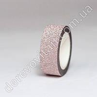 Скотч декоративный с глиттером, светло-розовый