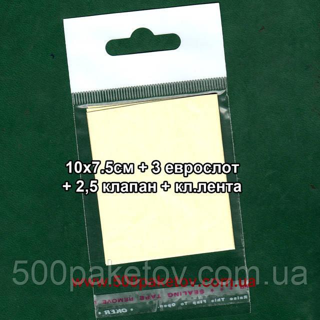 Пакет с еврослотом 10х7,5cм +к/л
