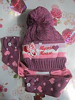 """Детская зимняя шапка на флисе  """"Minnie"""" на девочку. Разные цвета. Оптом., фото 1"""