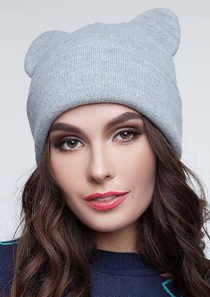 Теплая женская шапка с ушками кошки Серый, фото 2