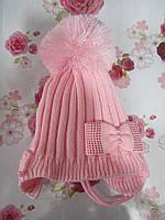 """Детская зимняя шапка на флисе  """"Бантики с жемчугом"""" на девочку. Разные цвета. Оптом., фото 1"""