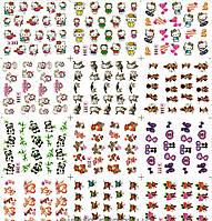 Водные наклейки для ногтей лист 363 животные мультяшки, фото 1