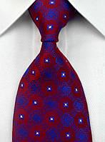 Галстук мужской красный с ярко-синим рисунком KAILONG